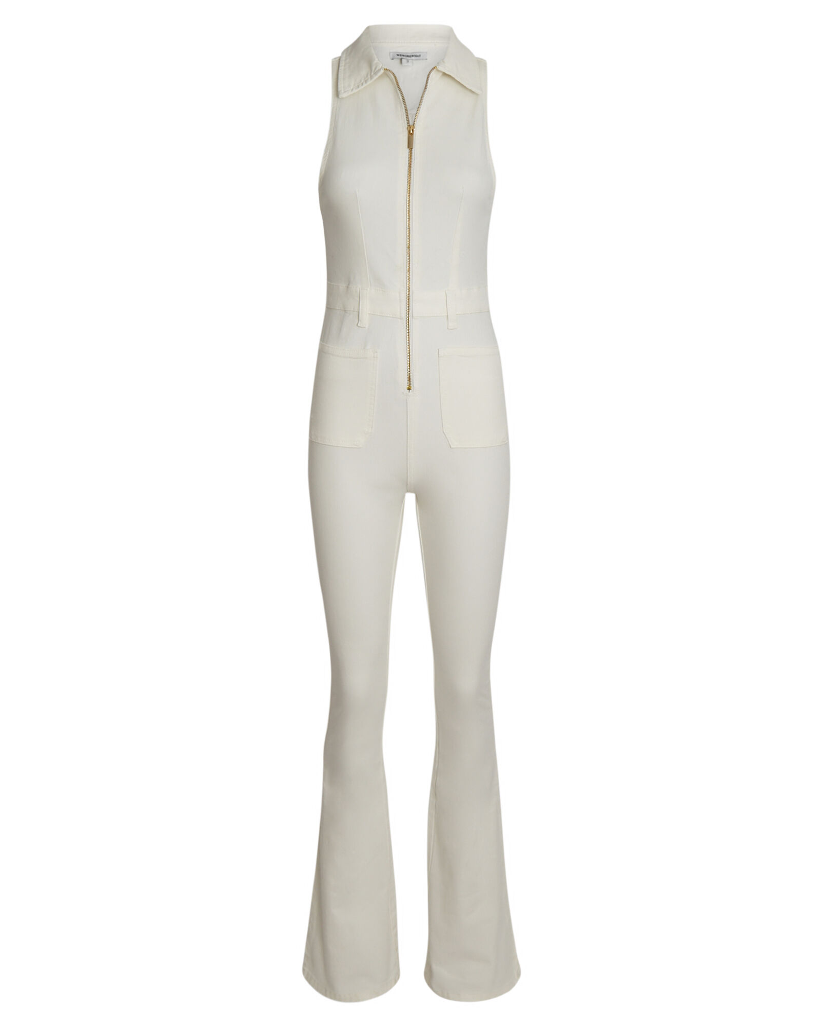 Flared Denim Sleeveless Jumpsuit, WHITE, hi-res