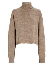 Cropped Recycled Cashmere Turtleneck Sweater, BROWN, hi-res