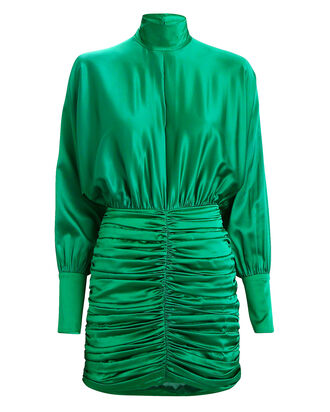 Barbara Ruched Silk Satin Dress, EMERALD, hi-res