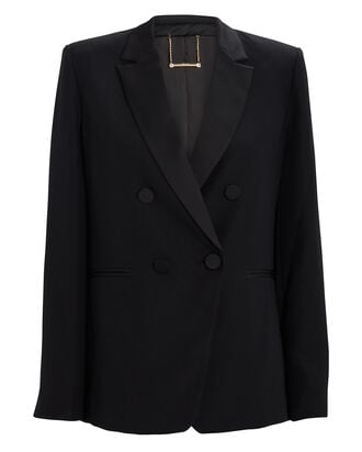 Double-Breasted Tux Satin Blazer, BLACK, hi-res