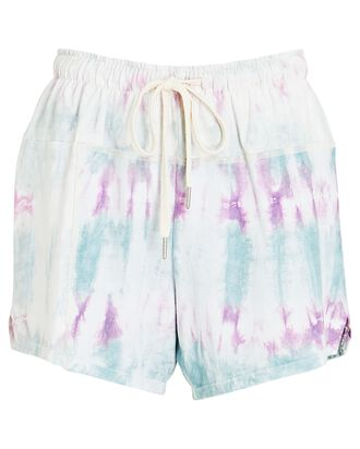 Tie-Dye Cotton Shorts, WHITE/GREEN/PURPLE, hi-res