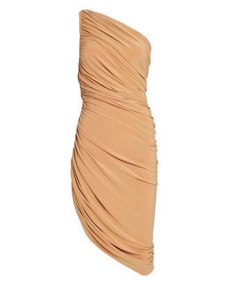 Diana Ruched One-Shoulder Dress, BEIGE, hi-res