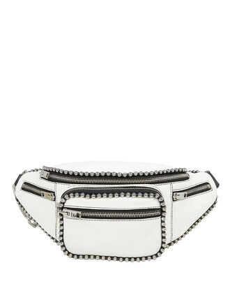 Attica Studded White Fanny Pack, WHITE, hi-res