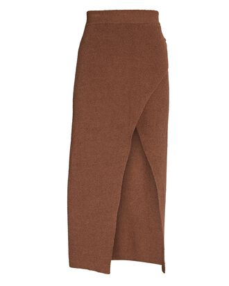 Knit Midi Wrap Skirt, BROWN, hi-res