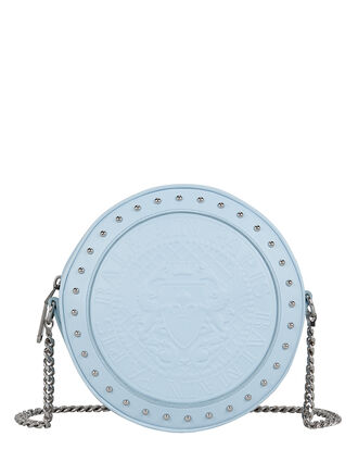 Disco Circle Studded Blue Leather Bag, LIGHT BLUE, hi-res