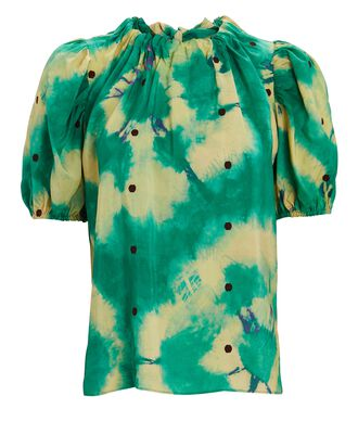 Isolda Tie-Dye Silk Blouse, GREEN, hi-res