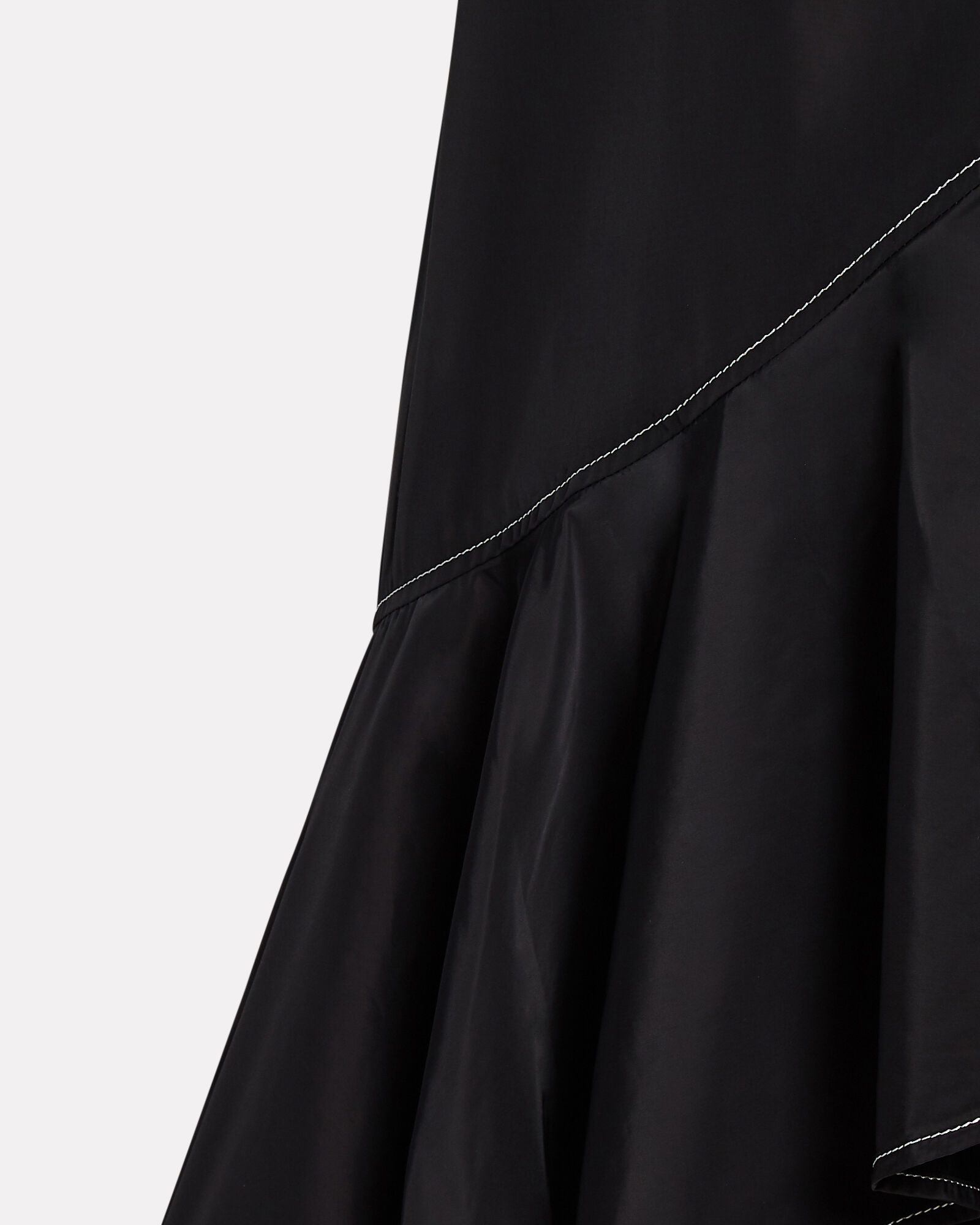 Ruffled Midi Wrap Skirt, BLACK, hi-res