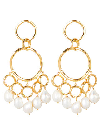 Feminine Waves Pearl Statement Earrings, WHITE/GOLD, hi-res