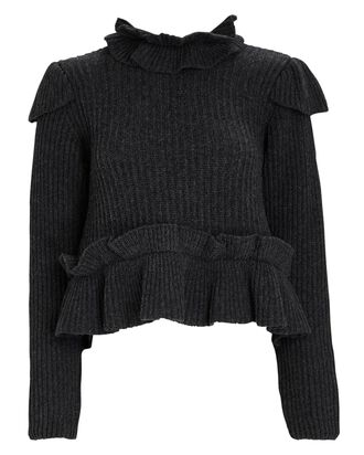 Ruffled High Neck Sweater, GREY, hi-res