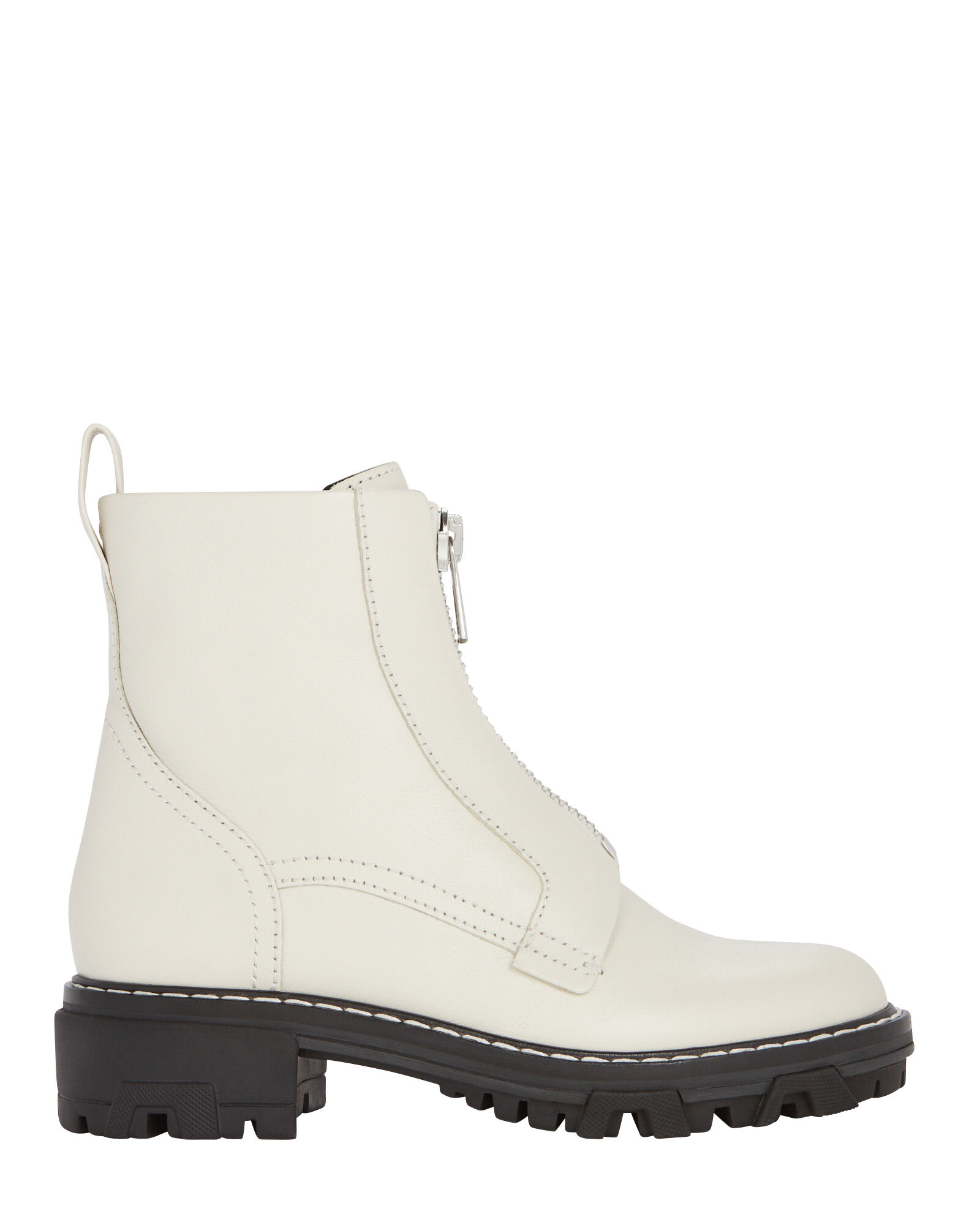 Shiloh Leather Combat Boots, IVORY, hi-res