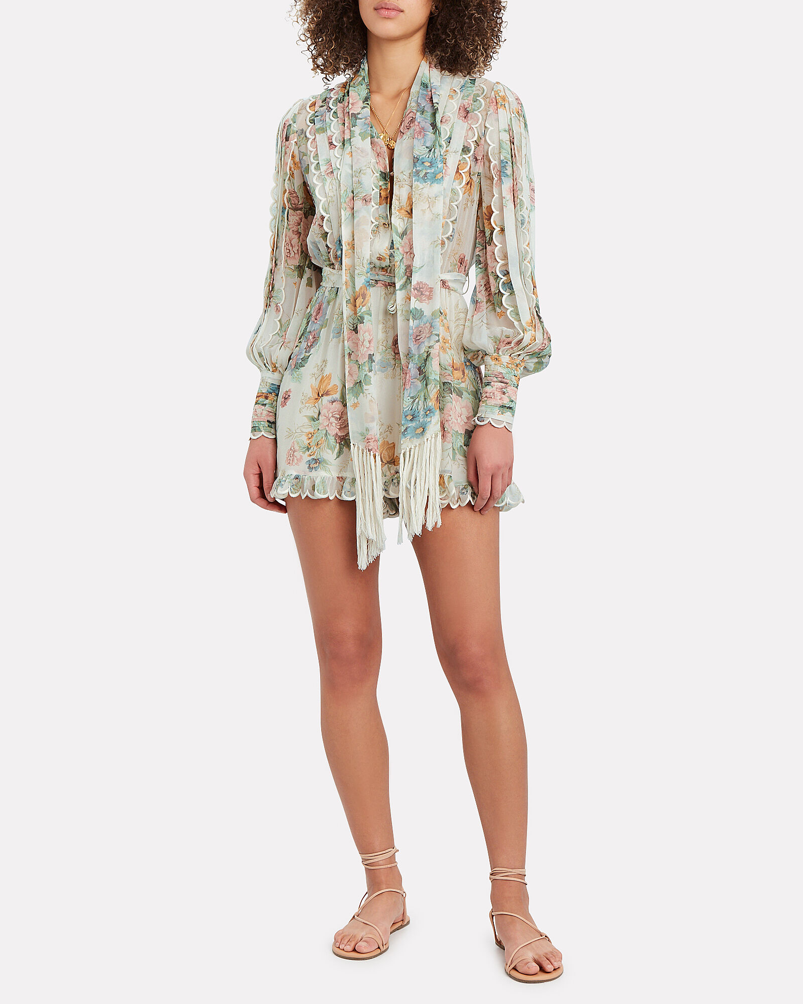 Wavelength Scalloped Floral Playsuit, MULTI, hi-res