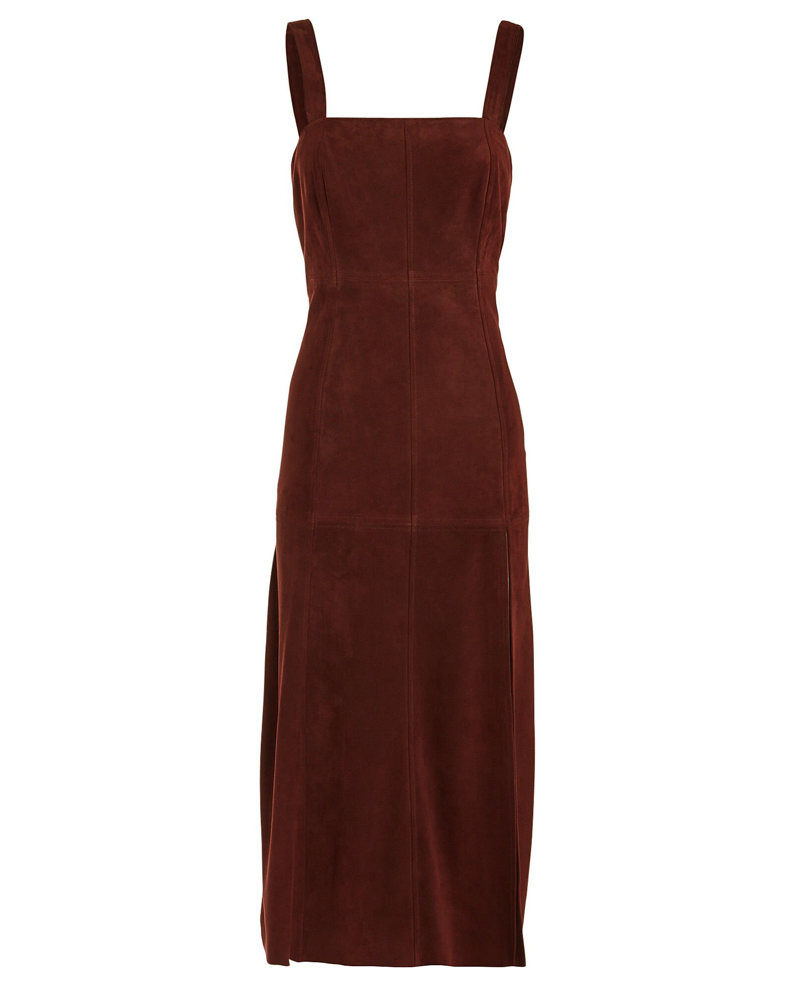Connie Sleeveless Suede Dress, RED-DRK, hi-res