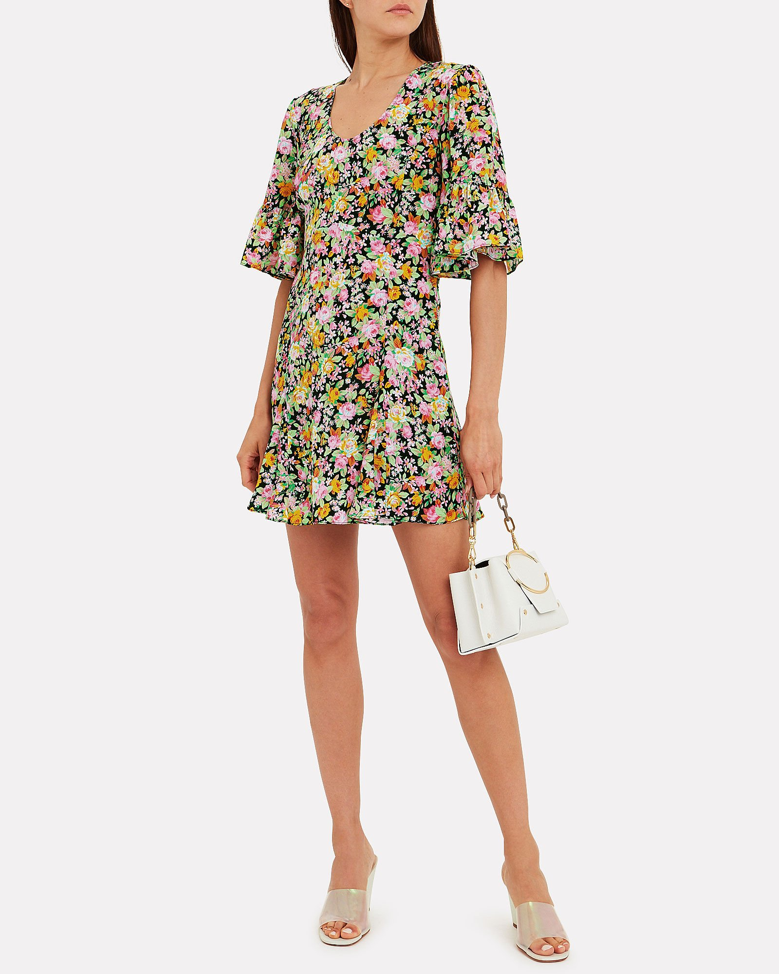 Ruffle Sleeve Mini Dress, BLACK/FLORAL, hi-res