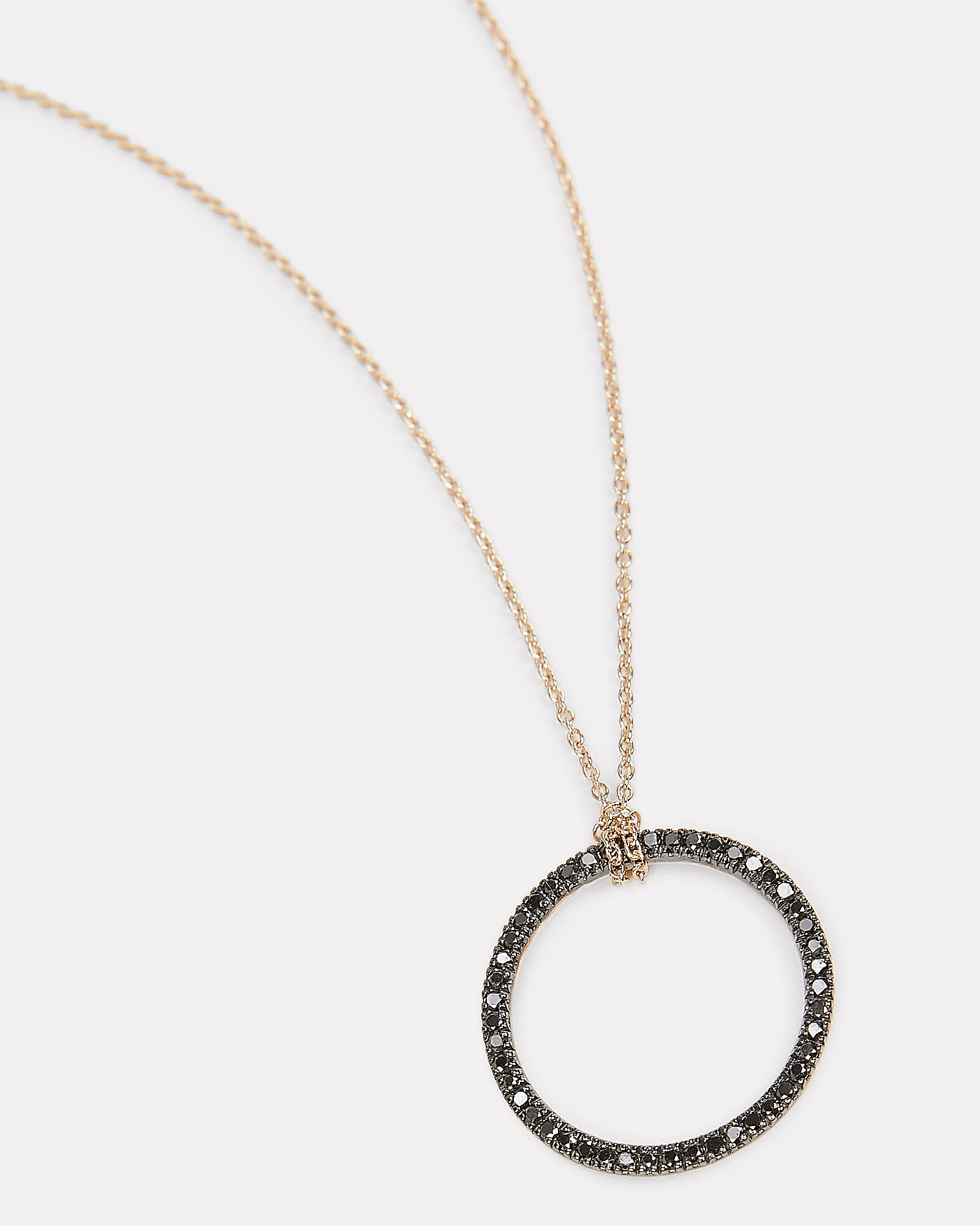 Black Diamond Pendant Necklace, ROSE GOLD/BLACK DIAMONDS, hi-res