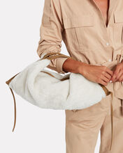 Luna Shearling Mini Hobo Tote, IVORY, hi-res