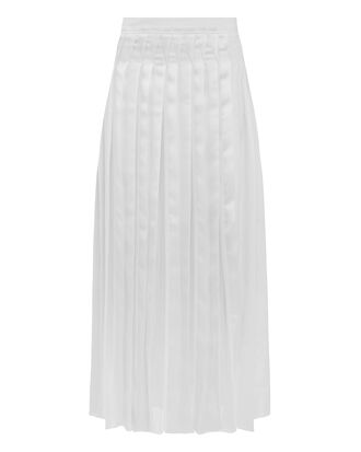 Pleated Poplin Skirt, WHITE, hi-res