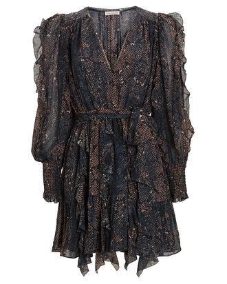 Natalia Python Silk Georgette Dress, NAVY/BROWN, hi-res