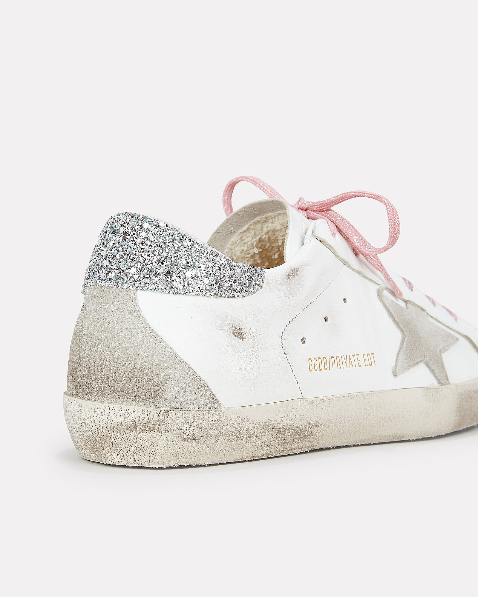 Superstar Pink Glitter Laces Low-Top Sneakers, WHITE, hi-res