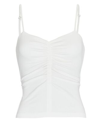 Halley Ruched Jersey Camisole, WHITE, hi-res