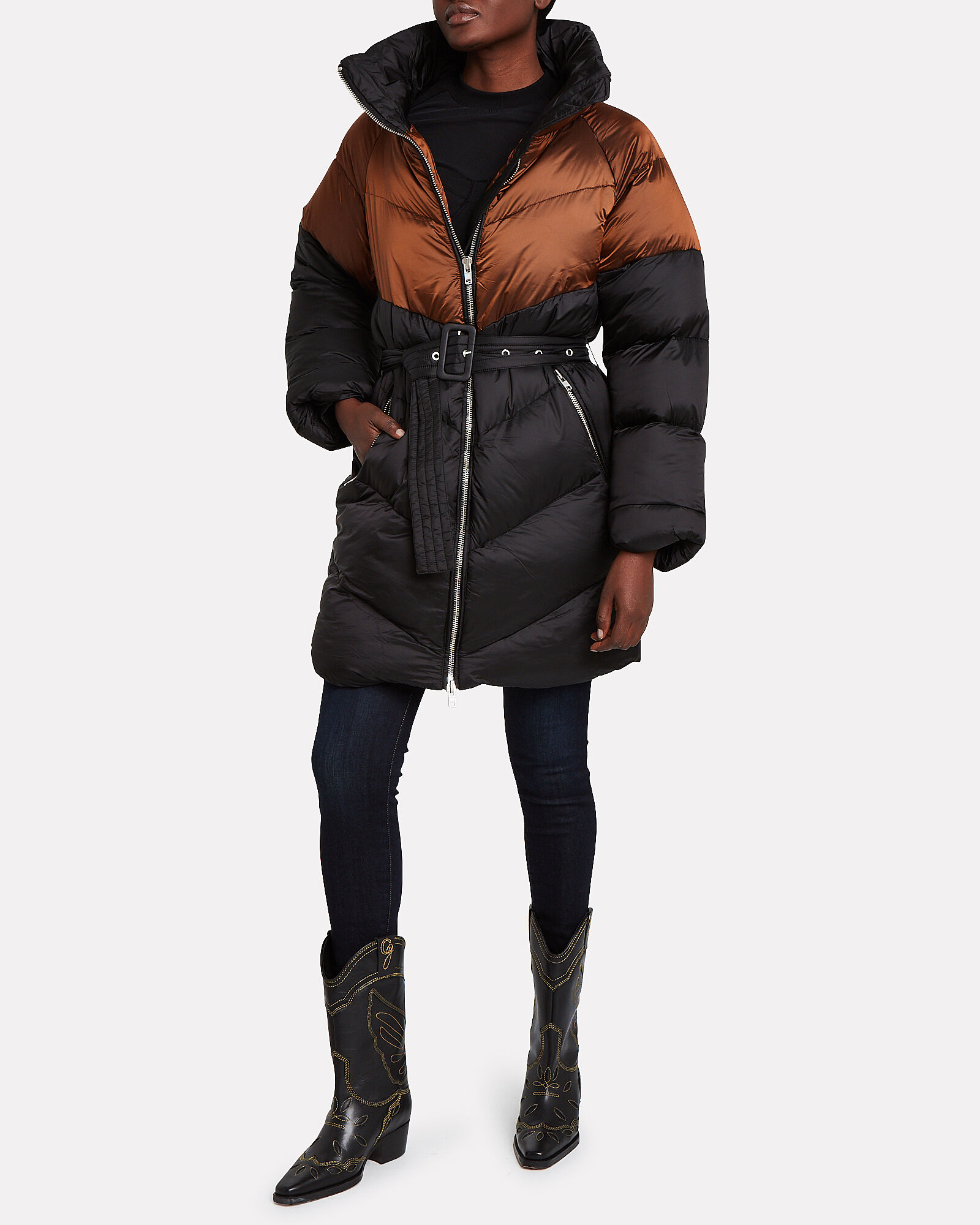 Helin Quilted Puffer Coat, ORANGE, hi-res