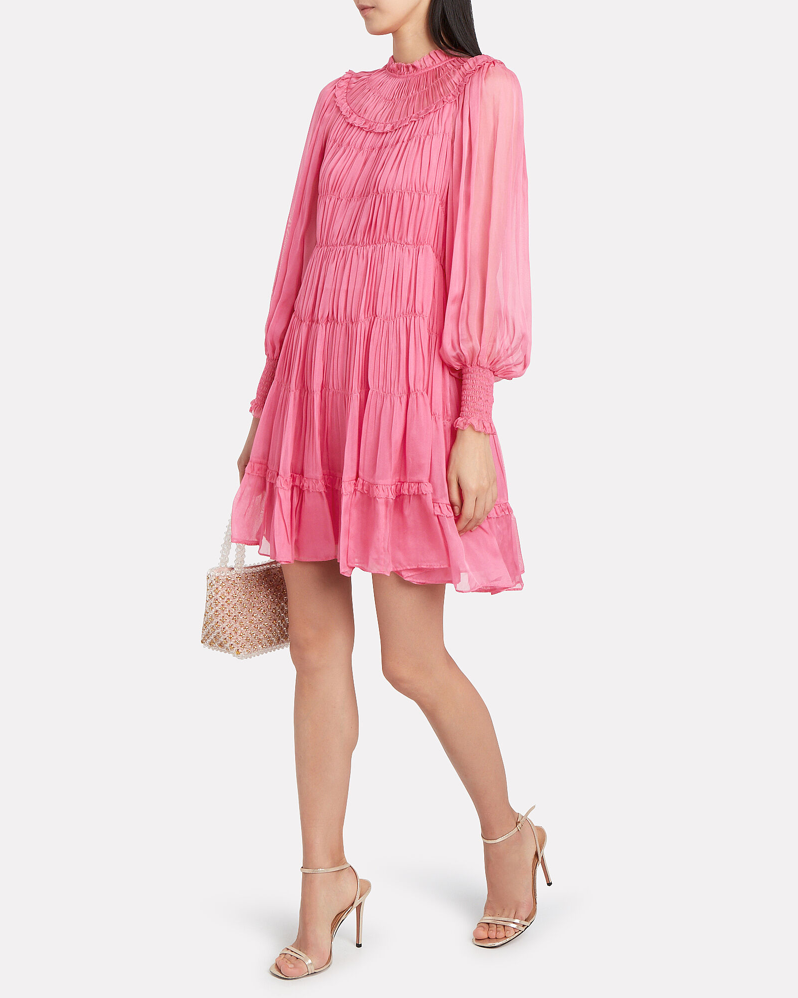 Emmaline Silk Habotai Pleated Dress, FUCHSIA, hi-res