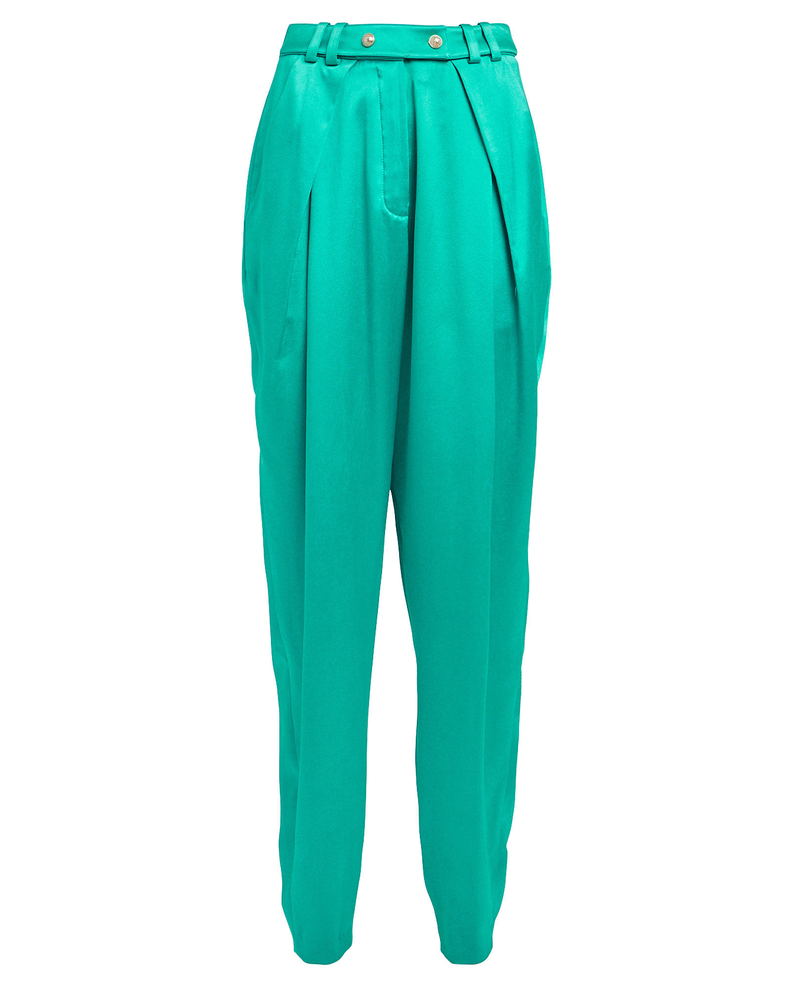 Tapered Satin Trousers, TURQUOISE, hi-res