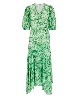 Floral Print Mesh Wrap Dress, GREEN-LT, hi-res