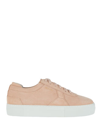 Platform Low-Top Suede Sneakers, PINK, hi-res