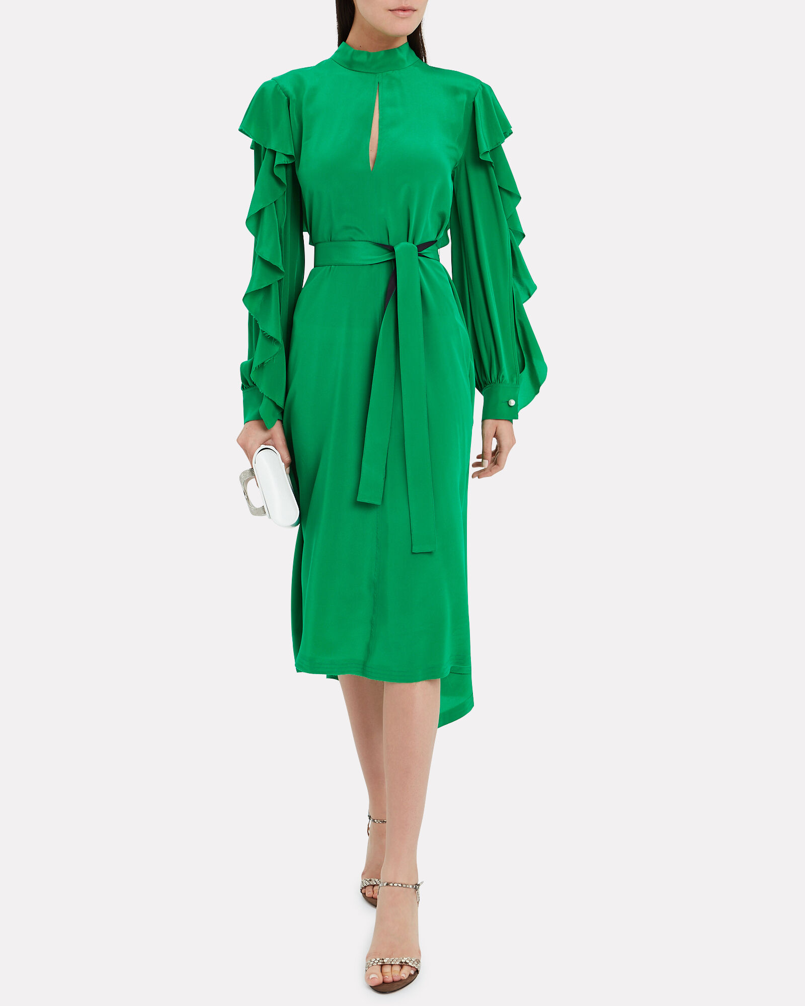 Chieko Crepe de Chine Ruffled Dress, GREEN, hi-res