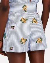 Goulue Embroidered Striped Shorts, GREY, hi-res