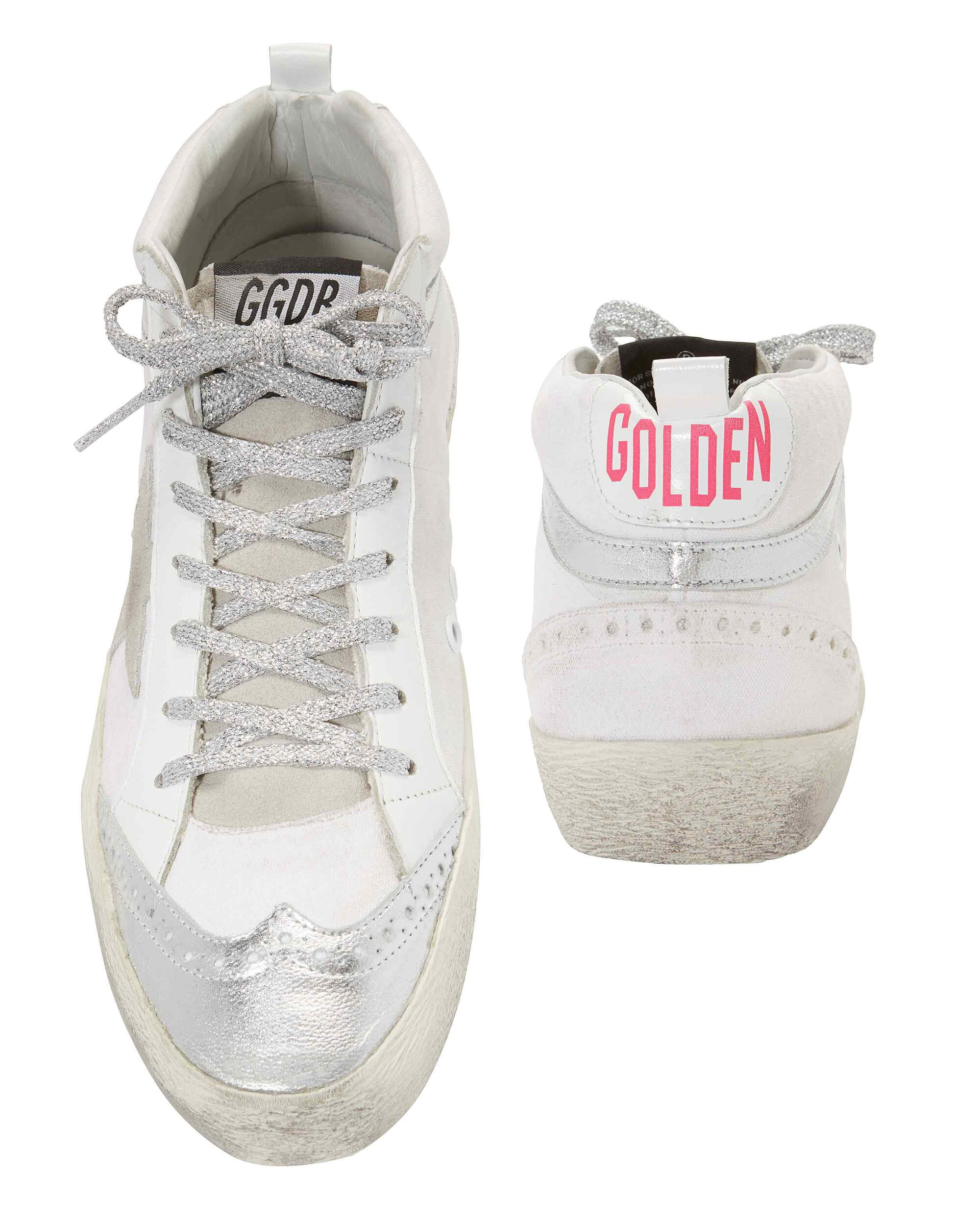 Mid Star Pink Back Leather Sneakers, WHITE, hi-res