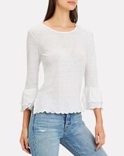 Scallop Bell Sleeve Top, WHITE, hi-res