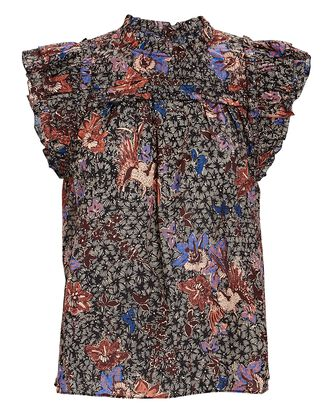 Louise Printed Ruffle Sleeveless Top, MULTI, hi-res