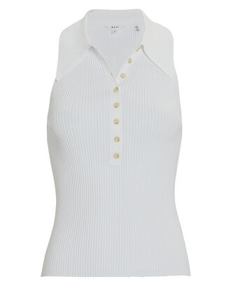 Asher Rib Knit Polo Tank Top, , hi-res