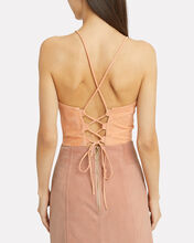 Brooklyn Lace-Up Suede Top, BLUSH, hi-res