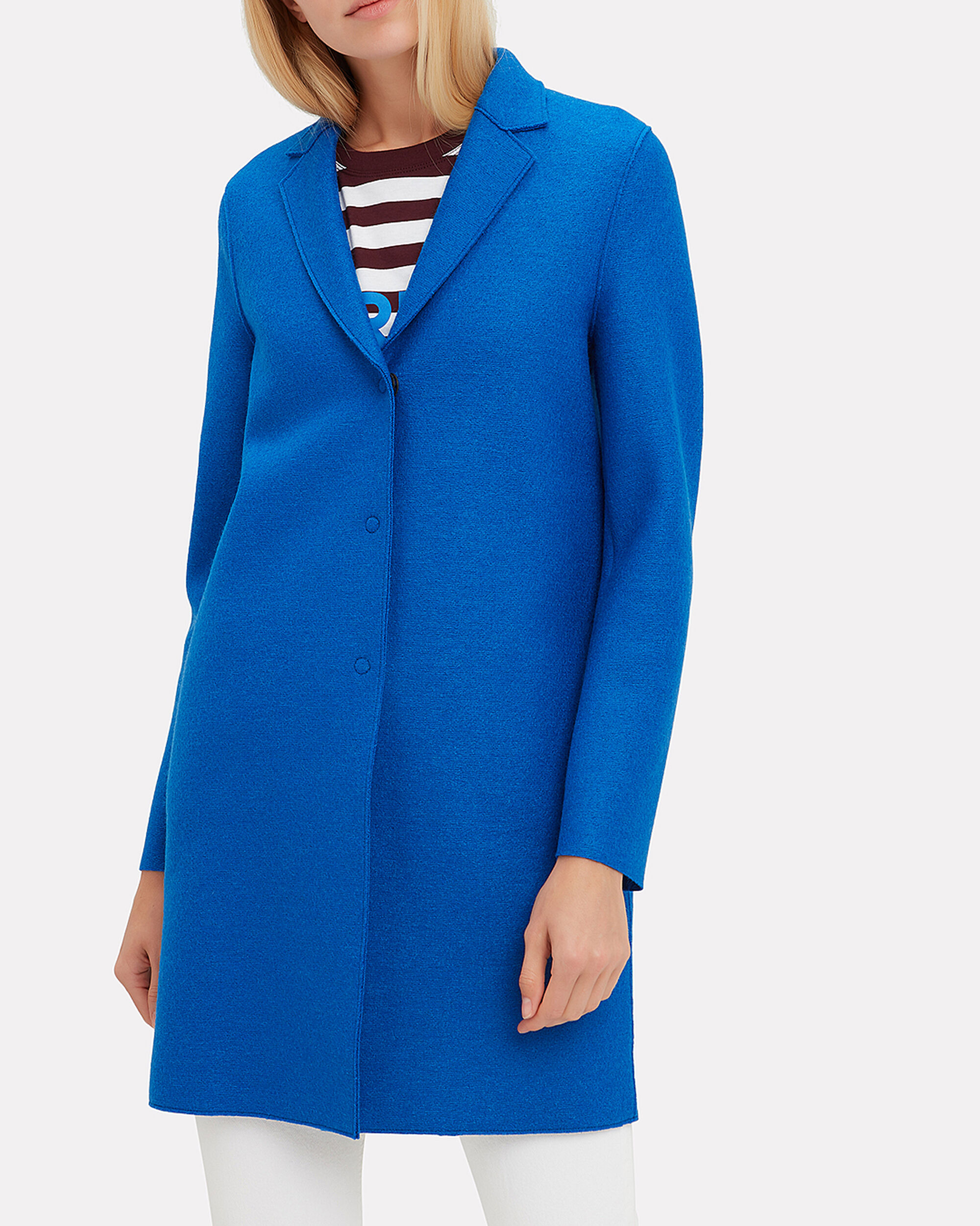Electric Blue Cocoon Coat, BLUE, hi-res