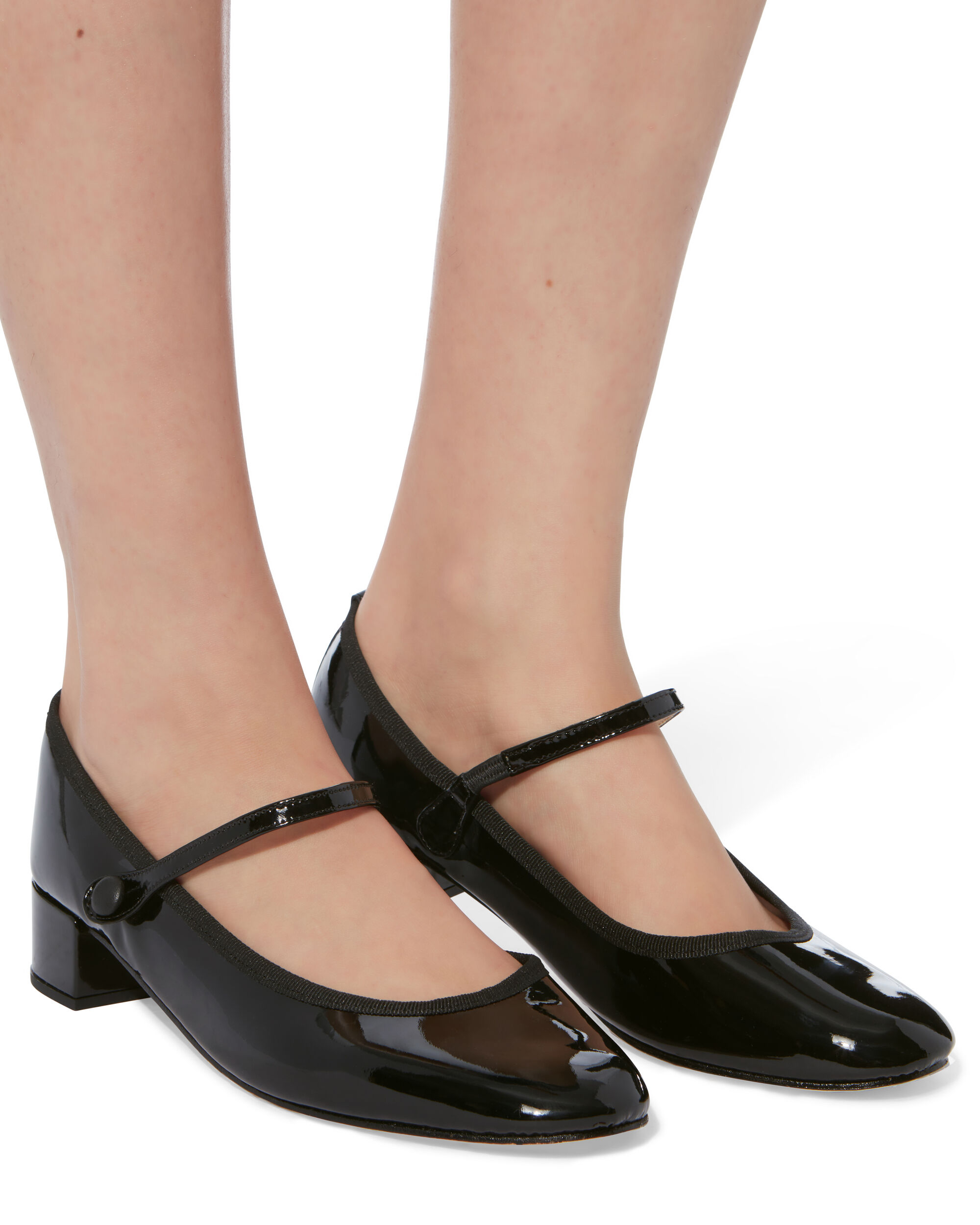 Patent Leather Mary Jane Heels, BLACK, hi-res