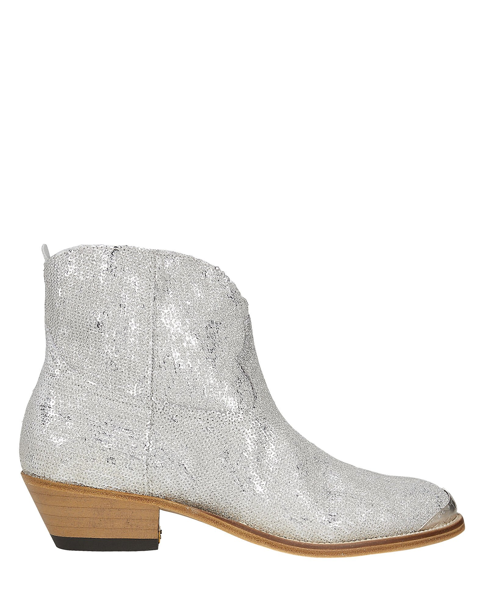 Young Sparkles Sequined Western Boots, SILVER, hi-res