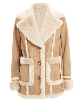 Patch Pocket Brown Faux Fur Coat, BROWN/TAN, hi-res