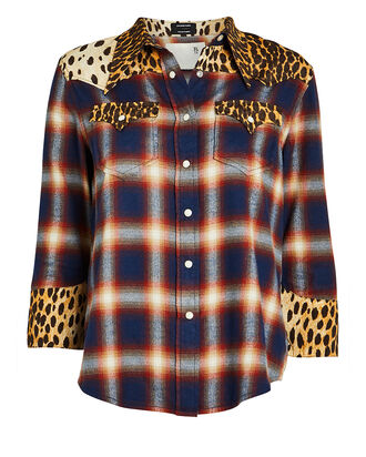 Exaggerated Collar Cowboy Shirt, BLUE/CHEETAH, hi-res