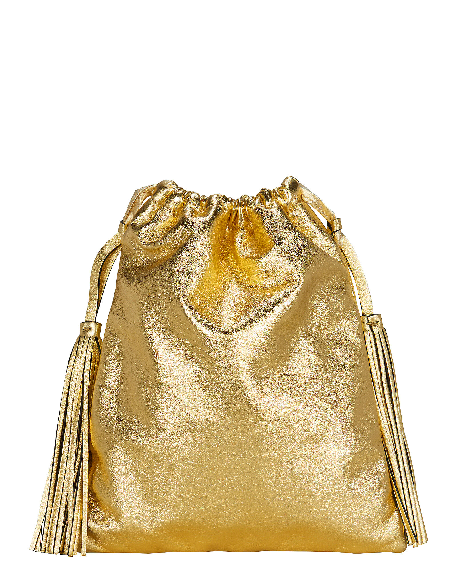 Drawstring Leather Clutch, GOLD, hi-res