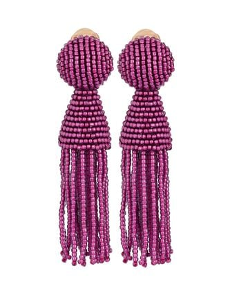 Short Beaded Tassel Earrings, PURPLE, hi-res