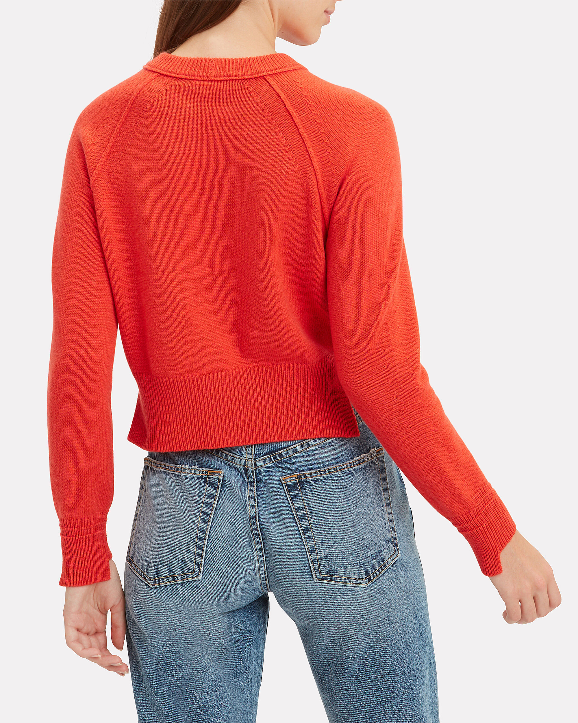 Cropped Red Cashmere Sweater, RED, hi-res