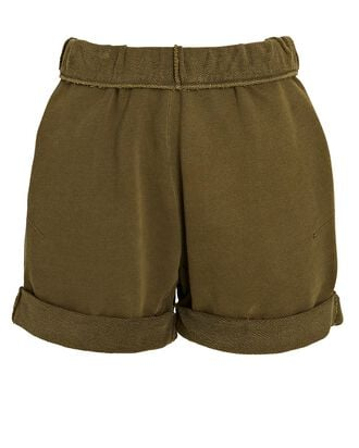 Rolled Cotton Terry Shorts, WASHED MOSS, hi-res