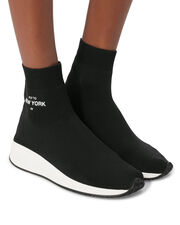 Fly To New York High-Top Sock Sneakers, BLACK, hi-res