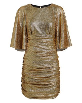 Cleo Ruched Metallic Mini Dress, GOLD, hi-res