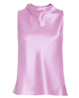 Silk High Neck Draped Blouse, PURPLE-LT, hi-res