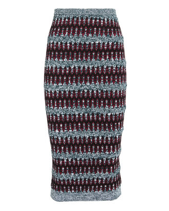 Multi Knit Pencil Skirt, BLUE-LT, hi-res