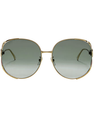 Gold Round Sunglasses, METALLIC, hi-res