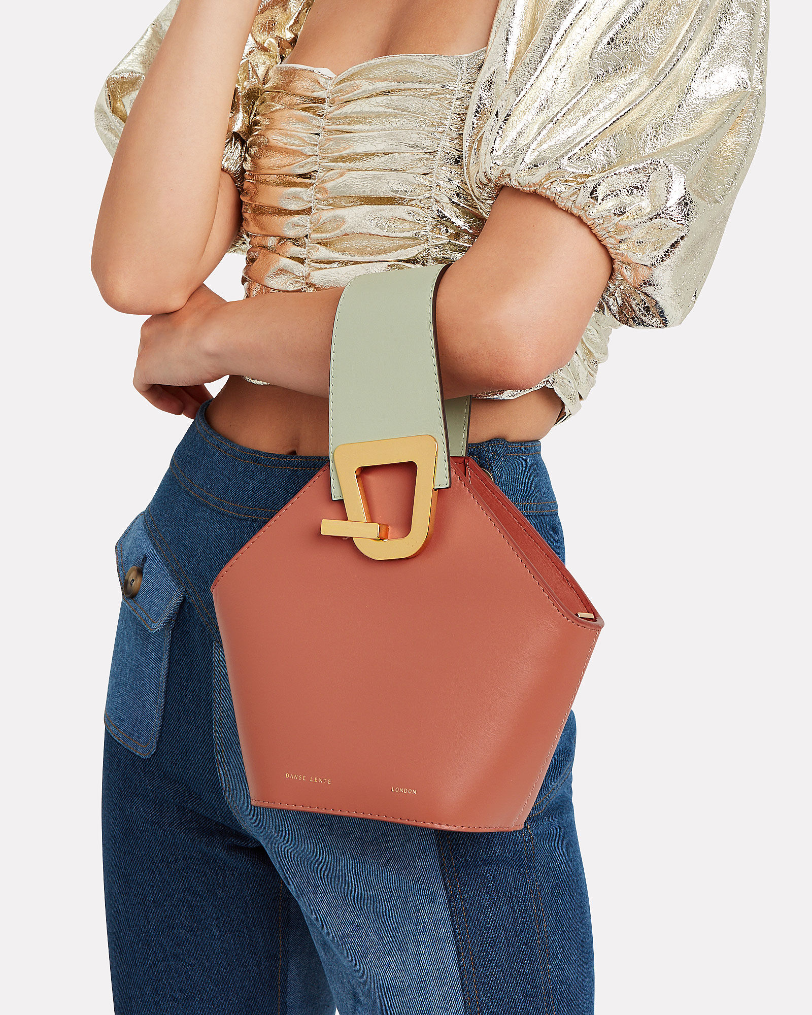 Mini Johnny Leather Clutch, BROWN/GREEN, hi-res